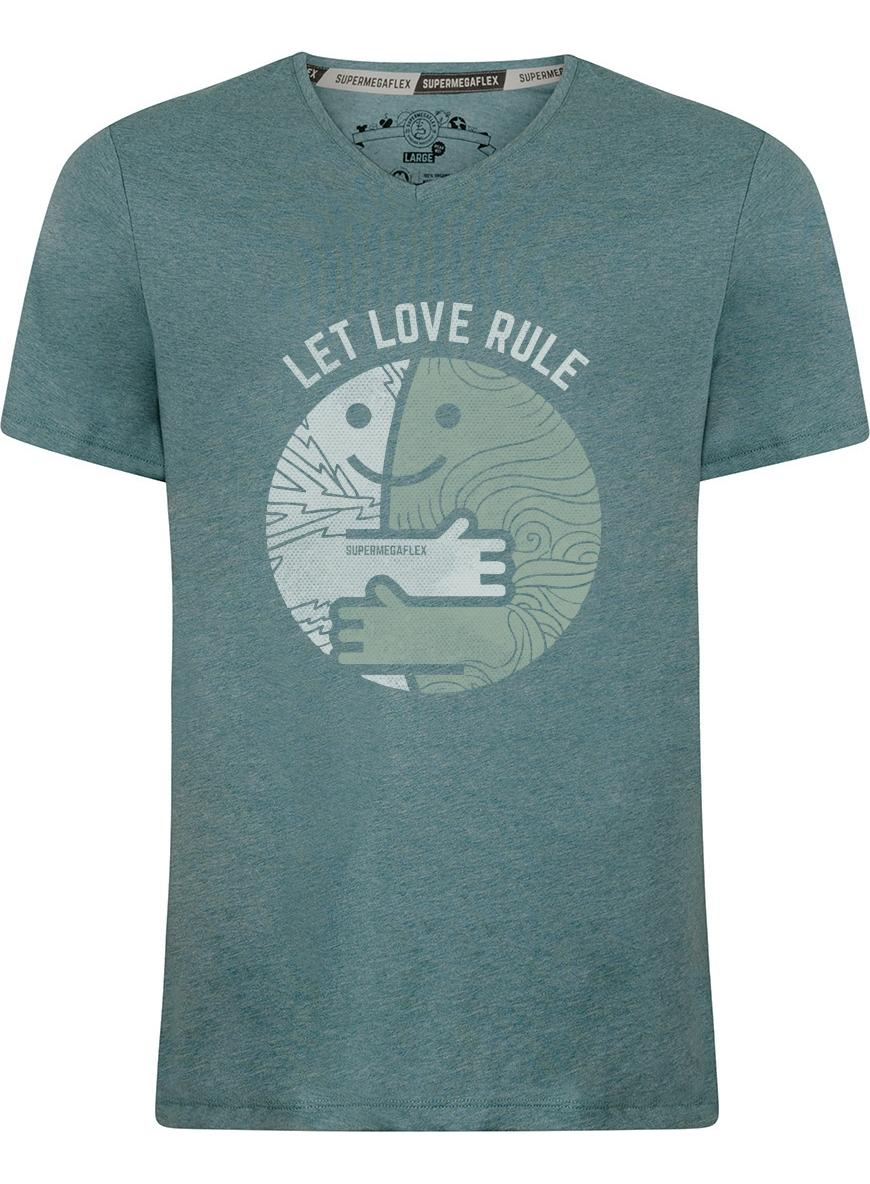 Organic tshirt - Let love rule - green from Supermegaflex