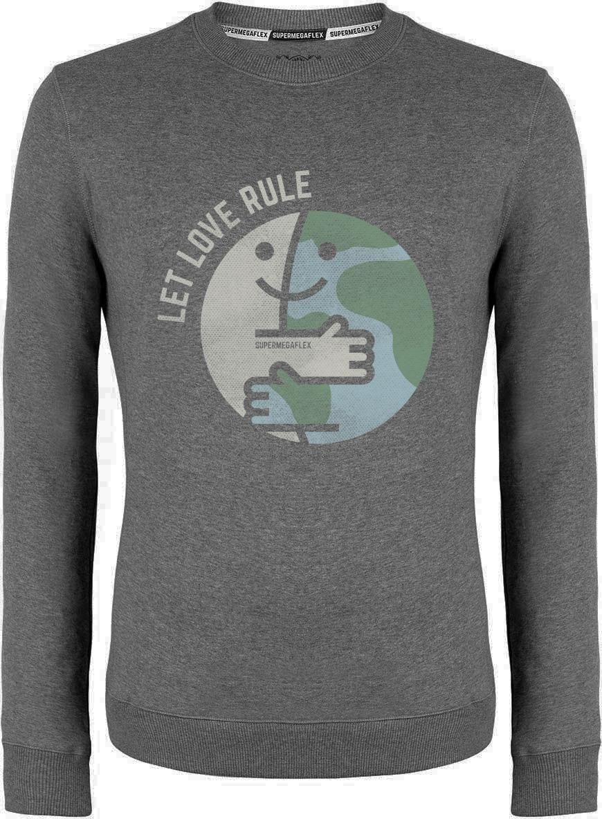 Organic sweater - Let love rule - gray from Supermegaflex