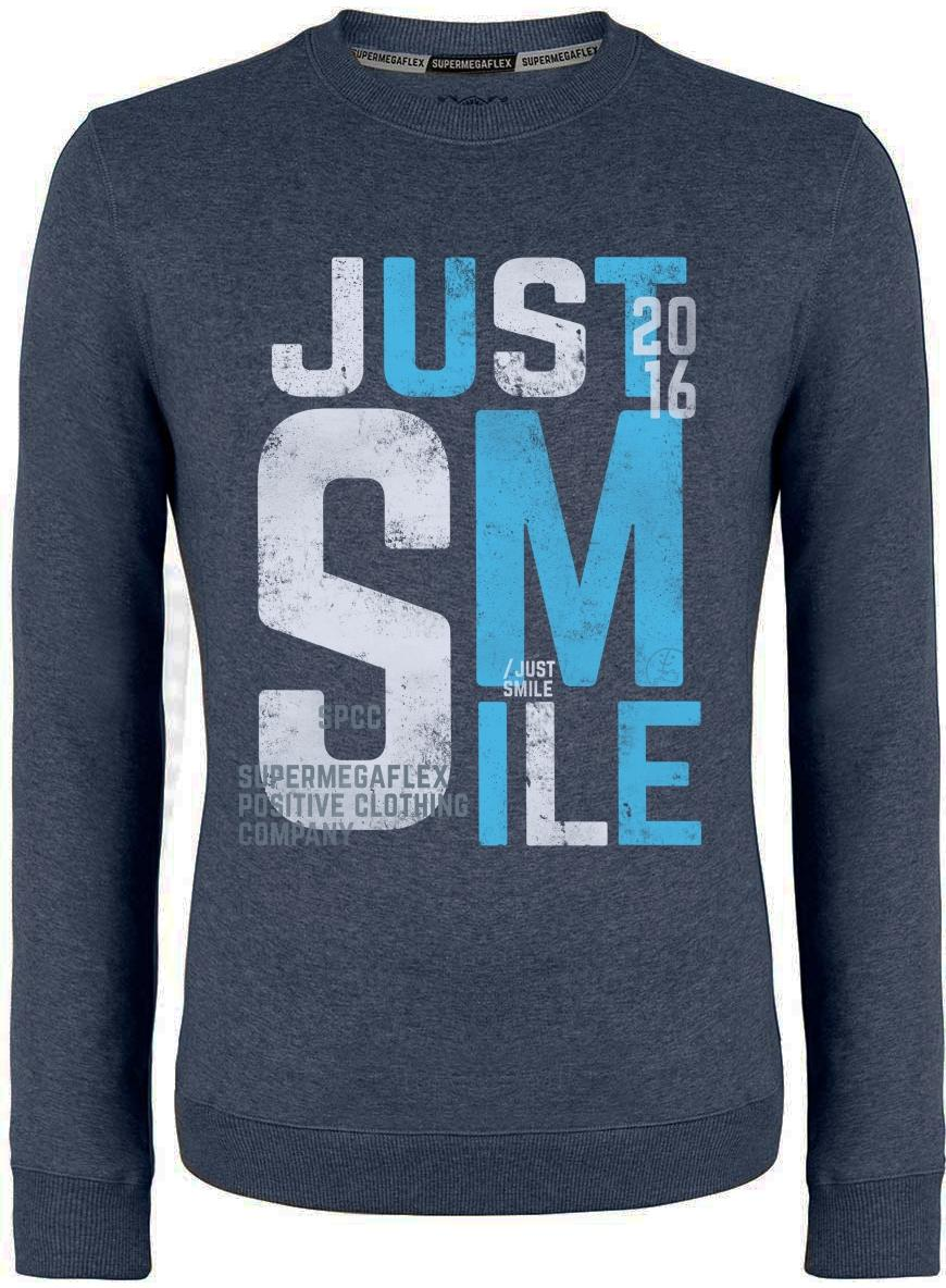 Organic sweater - Just smile - blue from Supermegaflex