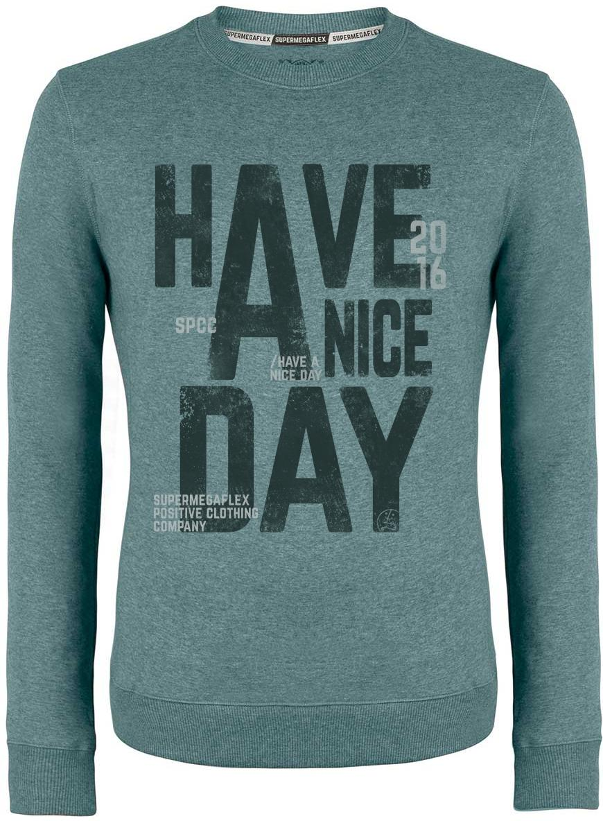 Organic sweater - Have a nice day - green from Supermegaflex