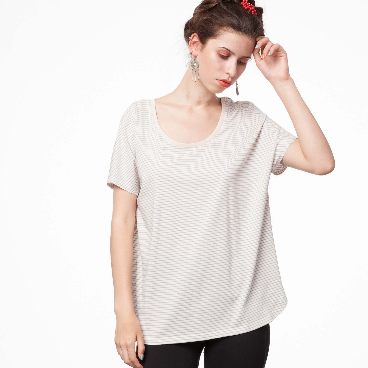 Oversized T-shirt triple striped from The Blind Spot