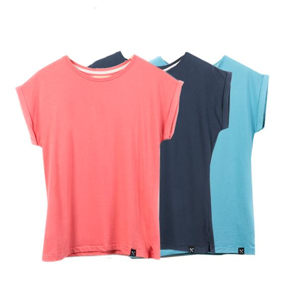 3 x : Basic Women's T-shirt - Blood coral - Navy - Light Blue from The Driftwood Tales