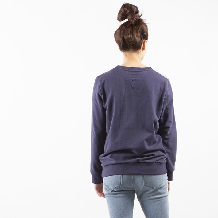 Sweatshirt Inside Out - Gerecycled Biologisch Katoen - Navy blauw en lichtgroen from The Driftwood Tales