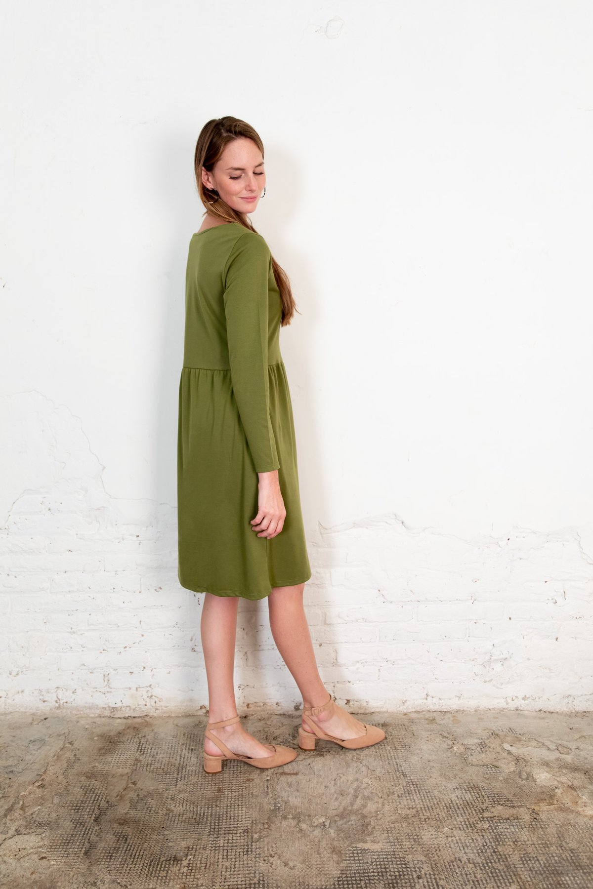 Annor dress olive from The Nordic Leaves