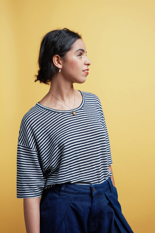 Billie tee fine stripe from thegreenlabels.com