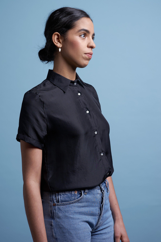 Silk shirt black from thegreenlabels.com