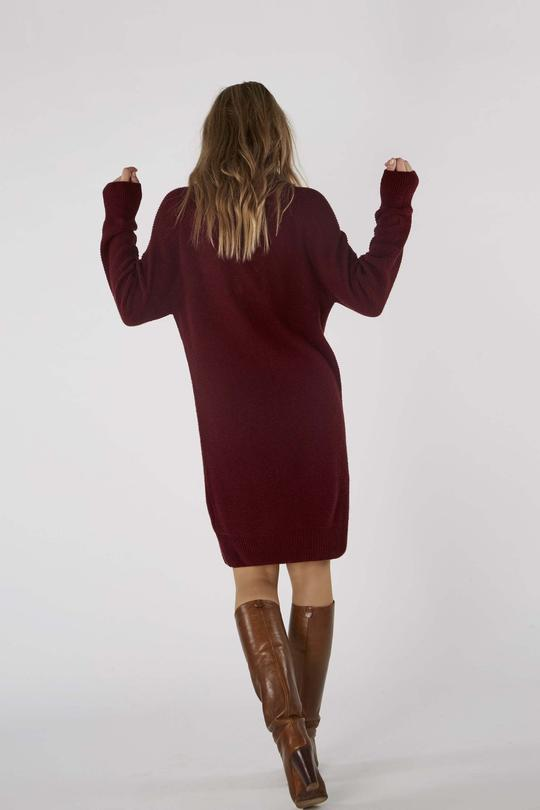 Lorraine knitted dress cordovan red from thegreenlabels.com