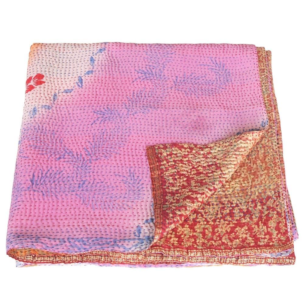 Kantha deken van zijden sari's groot | sakura from Tulsi Crafts