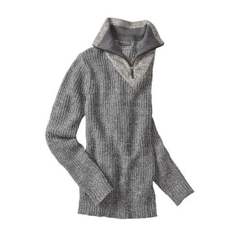 Hempage Gebreide troyer trui uit bio-katoen en hennep, grijs-gemêleerd | Waschbär from Waschbär